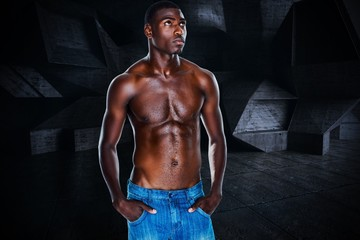 Composite image of fit shirtless young man