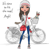 Vector cute hipster girl with bike and dog
