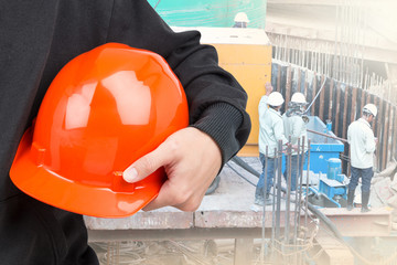 Close-up of hard hat holding