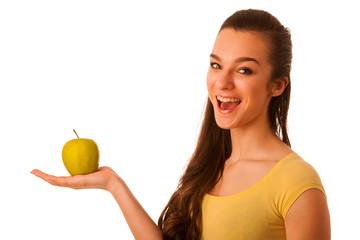 Beautiful happy asian caucasian woman in yellow t shirt holding