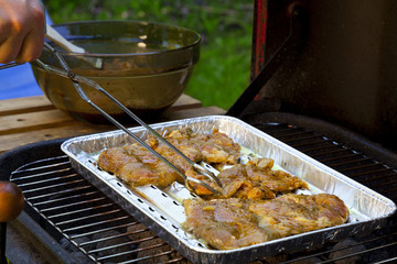 Grilled pork on a tray in the garden