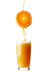 Juice pouring from orange