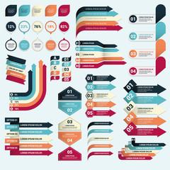 conjunto de banners coorporativos, infografías y flechas