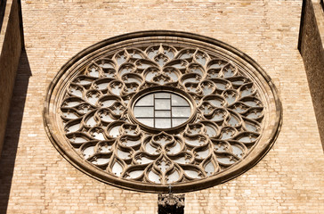 Rose window of St Mary of the Sea cathedral in Barcelona.