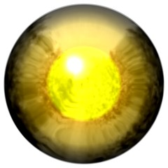Golden eye with open pupil and bright yellow retina in backgroun