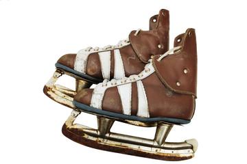 vintage pair of mens  ice skates on white