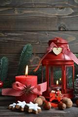 Weihnachtskarte - rote Laterne