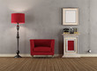 Vintage room with red armchairs