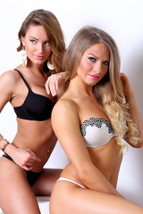Two gorgeous girl together in lingerie