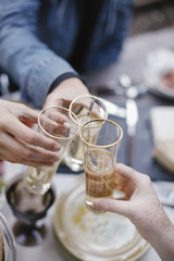 Three people making a toast, clinking glasses.