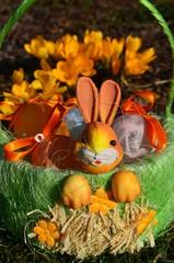 Osterkörbchen im Garten mit Krokussen