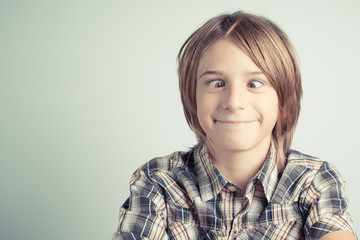 funny boy with cross-eyed - vintage style photo