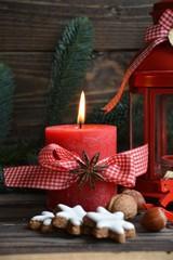 Weihnachtskarte - rote Adventskerze mit Schleife