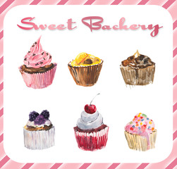 Set cupcakes. Watercolor hand drawn