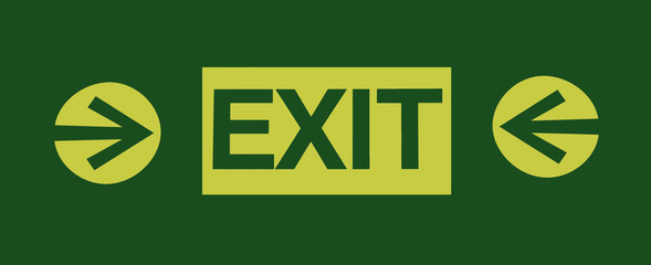Exit sign isolated on green background