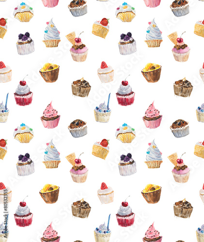 Fototapeta Seamless cupcakes. Watercolor