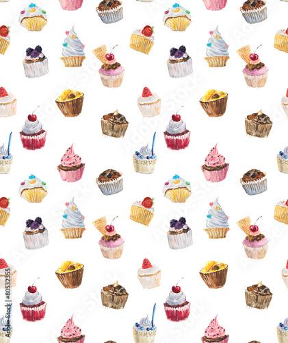Seamless cupcakes. Watercolor