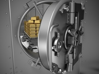 Vaulted Door. 3D. Open Bank Vault