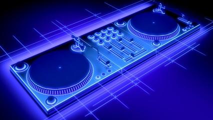 Turntable. 3D. DJ Turntables 3D Neon Sketch