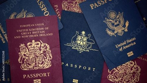 Passport. 3D. Assorted passports Landscape - 80532568