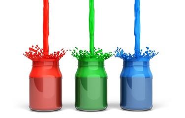 Printing Press. 3D. Cmyk paint vessel