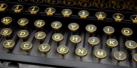 Typewriter. 3D. Antique Typewriter Keys