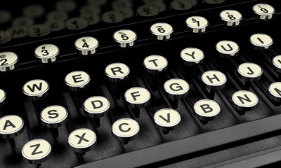 Typewriter. 3D. Retro typewriter keys