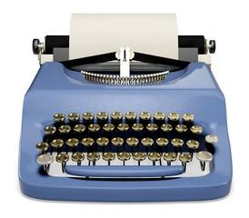 Typewriter. 3D. Old Typewriter with Blank Paper