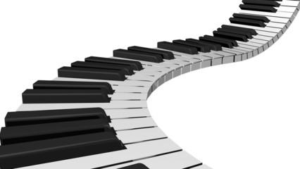 Piano Key. 3D. Piano keyboard render