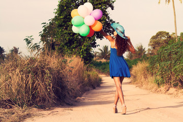 The woman with balloons. Vintage style
