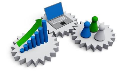 Computer Software. 3D. Business work concept