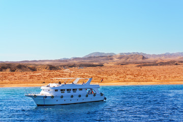 Luxury yacht is sailing in the Red Sea