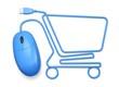 Leinwanddruck Bild - E-commerce. 3D. Mouse shopping cart white