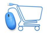 E-commerce. 3D. Mouse shopping cart white
