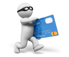 Thief. 3D. 3d Thief stealing credit card, isolated/clipping path