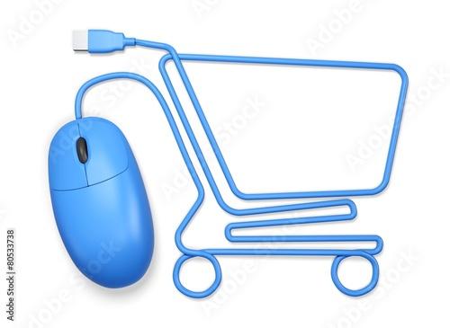 Leinwanddruck Bild E-commerce. 3D. Mouse shopping cart white