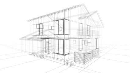 Architecture. 3D. Abstract construction building architecture