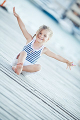 Happy childhood by the sea on berth