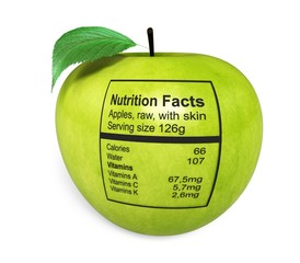Healthy Eating. 3D. Apple with nutriton facts