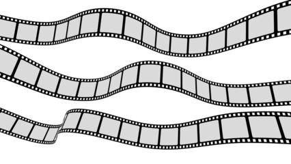 Film. 3D. Three wavy filmstrips