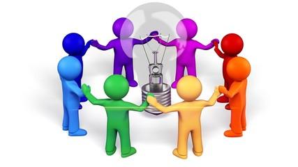 Light Bulb. 3D. Team work for ideas (Isolated)