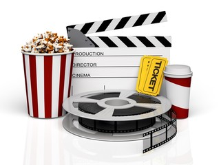 Movie. 3D. Cinema objects
