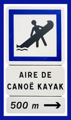 """Panneau """"Aire de canoë kayak"""""""