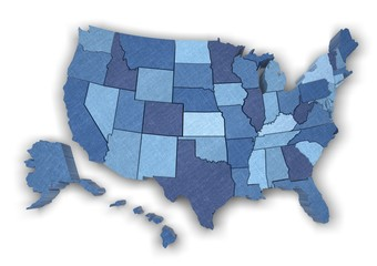 USA. 3D. USA map with states (also Alaska and Hawaii)