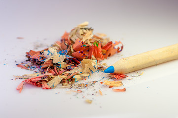 color pencil and sharpener residue