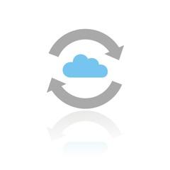 Icono intercambio nube color FB reflejo