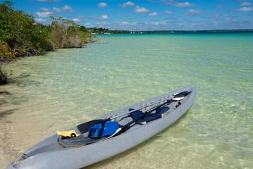 Beautiful Adventure at tranquil Bacalar lake. Riviera Maya, Mexi