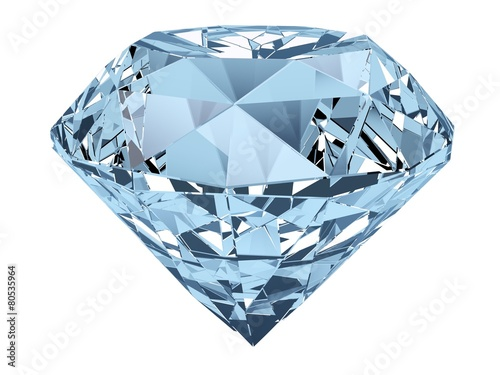 Diamond. 3D. Single diamond isolated on white. - 80535964