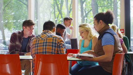 Cheerful diverse student group chatting & working together in college cafe area