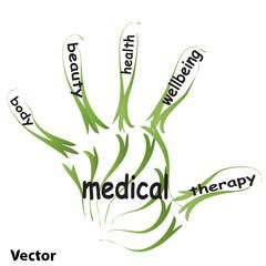 Vector hand print health concept text